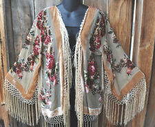 HAND BEADED ROSES SILK VELVET BURNOUT ART TO WEAR KIMONO JACKET IN BEIGE, OS+!