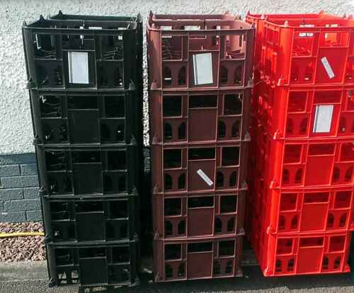 6 Brand New Plastic Beer Crates or Milk Crates holds 20 x 500ml bottles