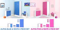 Alpha Boys & Girls Blue or Pink High Gloss & White Bedroom Furniture Units Sets