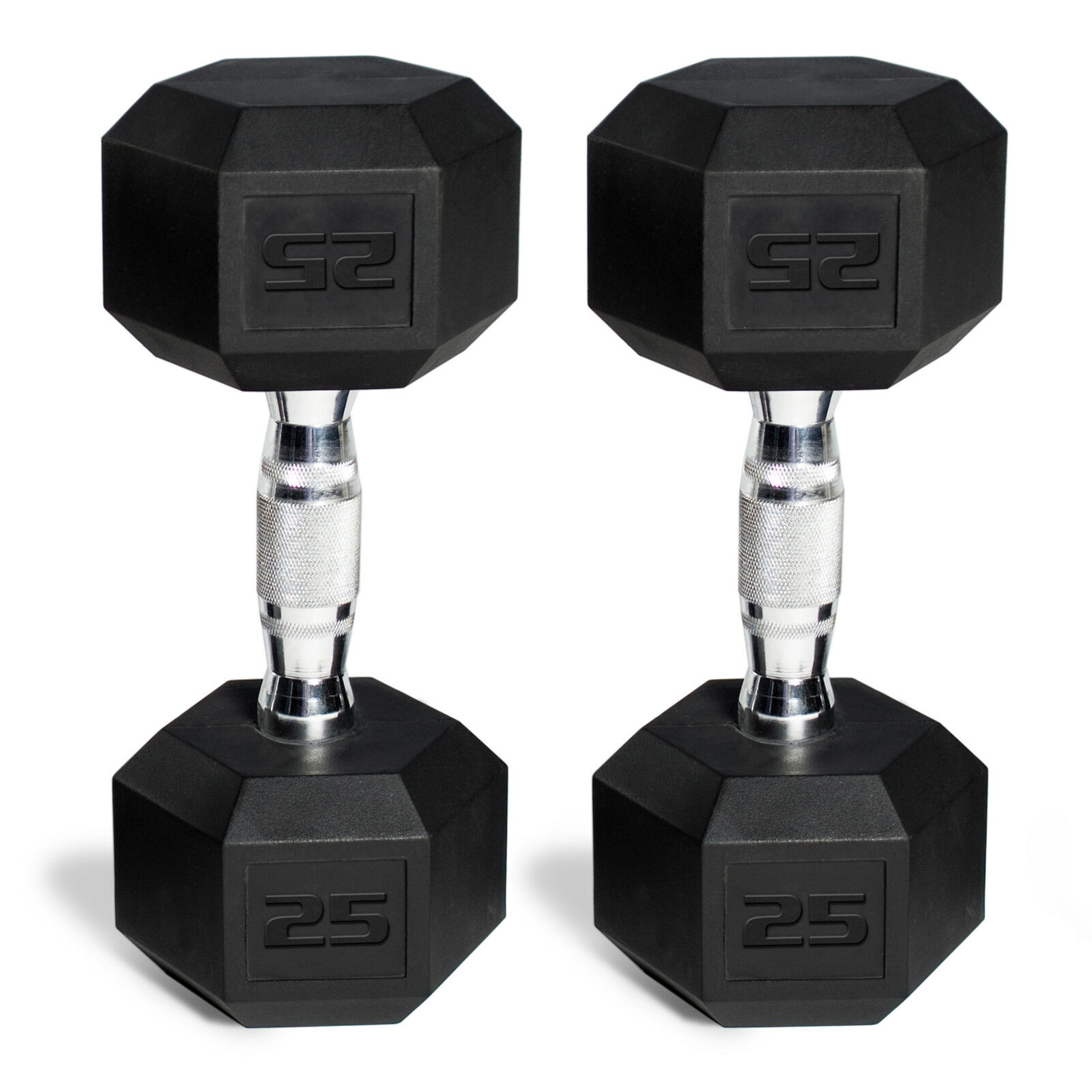 Set of 2 CAP Barbell Rubber-Coated Hex Dumbbells 25Lb. Home Gym Workout Training