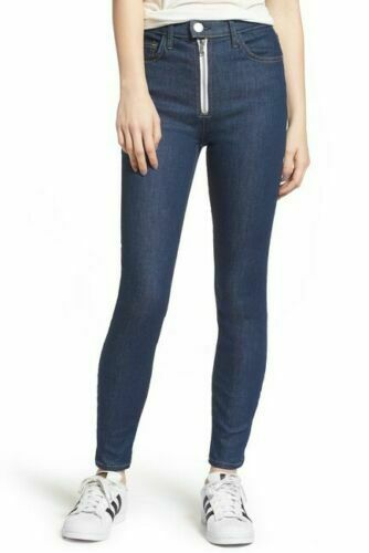 Current Elliott The Ultra High Waist exposed Zip Skinny in Rinse Jeans 29