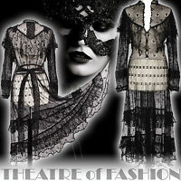 VINTAGE CROCHET DRESS 70s LACE BLACK BOHO WEDDING 6 8 10 12 14 16 VICTORIAN VAMP