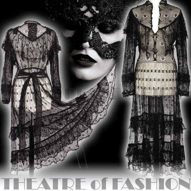 VINTAGE CROCHET DRESS LACE BLACK 70s BOHO WEDDING 6 8 10 12 14 16 VICTORIAN VAMP