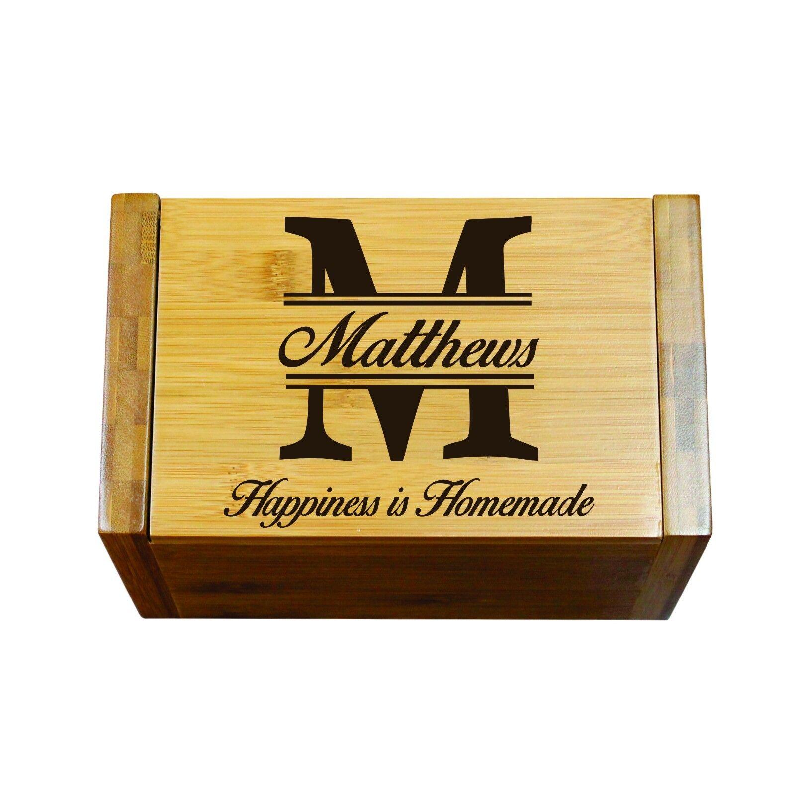 Personalized Wood Recipe Box Engraved Custom Kitchen Gifts Ebay