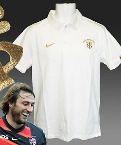 Nuevo-Nike-Toulouse-Rugby-Estilo-Algodon-polos-blanco-y-dorado-M
