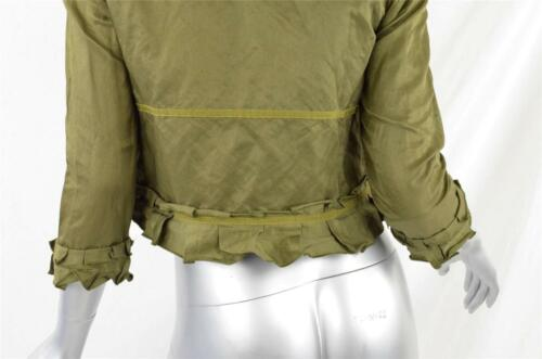 Ports Cropped 4 Åben Coat Tie Kort Green Ruffled ærmer Army Jacket Womens 4 3 rt8qYrx