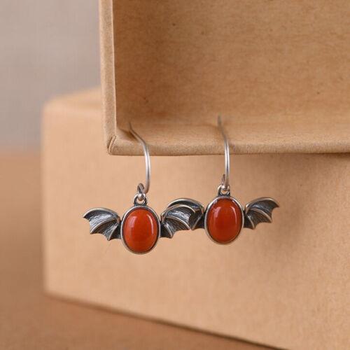 F05 Ohrring Silber 925 Fledermaus mit ovalem rotem Achat