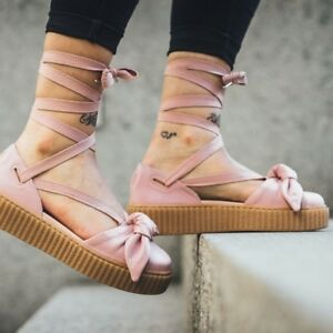 9063de96e2f7 Fenty Puma by Rihanna Leather Bow Creeper Sandal Pink Sz 7.5  140 ...