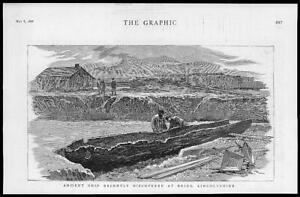 1886-Antique-Print-LINCOLNSHIRE-BRIGG-Archeology-Ancient-Ship-Discovery-40