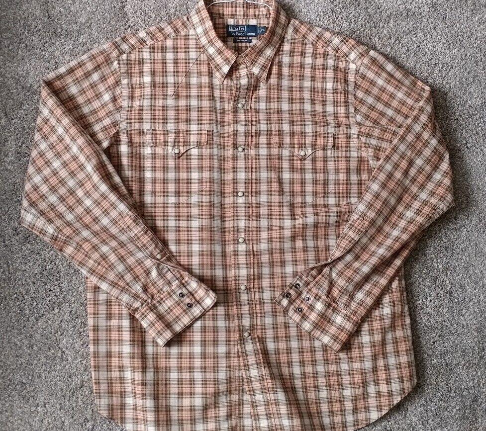 6634f753b7 Polo Ralph Lauren WESTERN Long Sleeve PEACH Pearl Snap Button Down ...