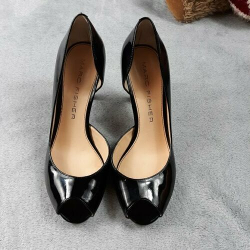 Marc Fisher Black Patent Joey Peep Toe Heel