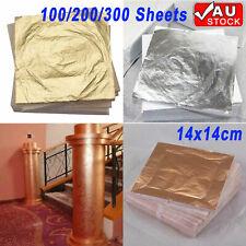 100/200/300 Sheets Gold Silver Copper Leaf Foil Paper Gilding Art Craft 14x14cm