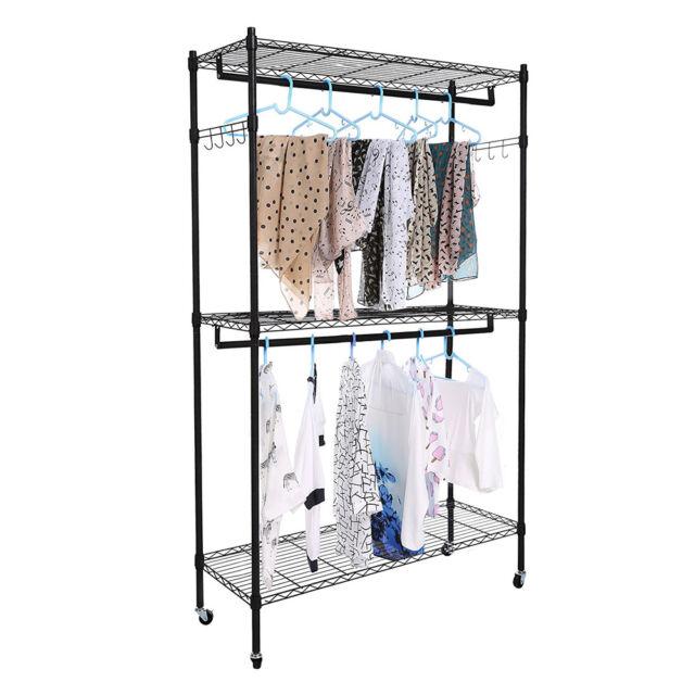 2Tier Rod Closet Organizer Garment Rack Clothes Storage Hanger Shelf Hooks  Black
