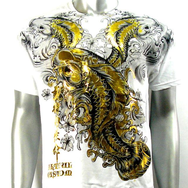 Artful Couture T-Shirt Sz M L XL XXL Japanese Koi Fish Vtg Tattoo Rock bmx AW17