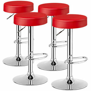 Costway Set of 4 Round Bar Stool Adjustable Swivel Pub Chair w/ Footrest Red