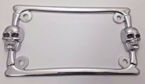Chrome Skulls Motorcycle License Plate Frame (Metal)