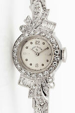 Antique 1950s $6000 1.50ct VS G Diamond LADY ELGIN Platinum Ladies Watch