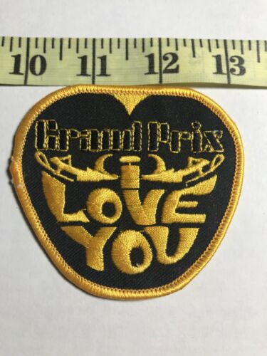 Vintage Cloth Patch Embroidered Fabric Grand Prix I Love You Car Collectible 70s