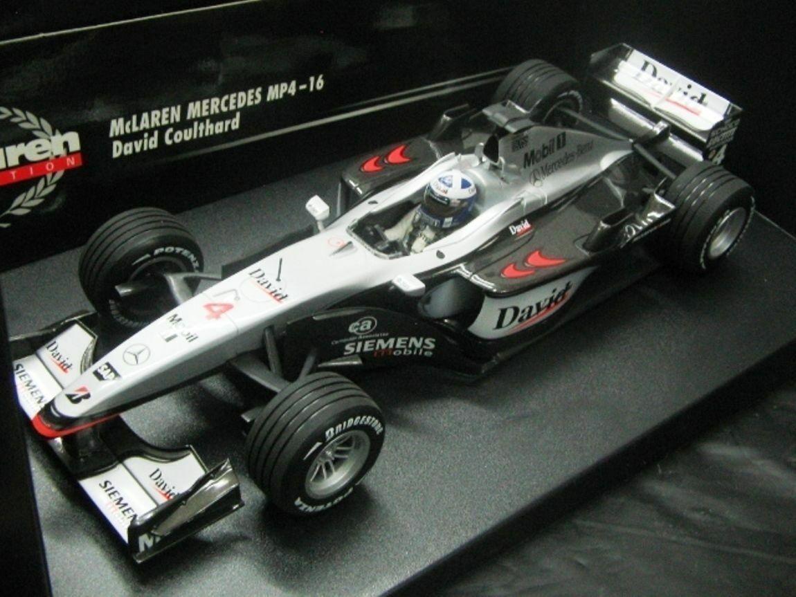 Wow extremamujerte raro McLaren MP4 16 Coulthard British GP 2001 1 18 Minichamps
