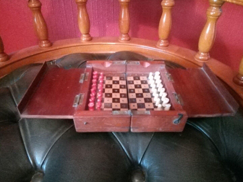 Victorian acajou et laiton Pliant Voyage Chess Set