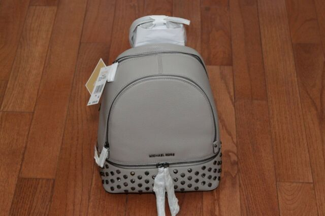 922c6a11b2ac Michael Kors Rhea Zip Stud Medium Leather Backpack Pearl Grey Gunmetal