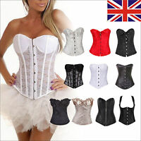 UK Women Sexy Corset Casual Bustier Boned Basque+Lingerie/Thong Outfit PLUS SIZE