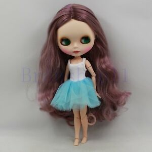 12-034-Neo-Blythe-factory-Doll-Nude-Long-Purple-curly-hair-Jointed-Body-Matte-face
