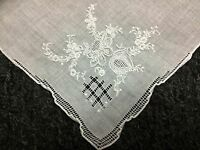 12 Pieces Vintage Hand Embroidered Fine Linen Handkerchief Hankie Bridal Wedding