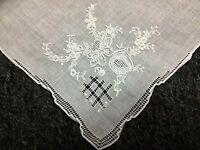 12 Pieces Vintage Hand Embroidered Fine Linen Handkerchief Hankie Bridal Wedding
