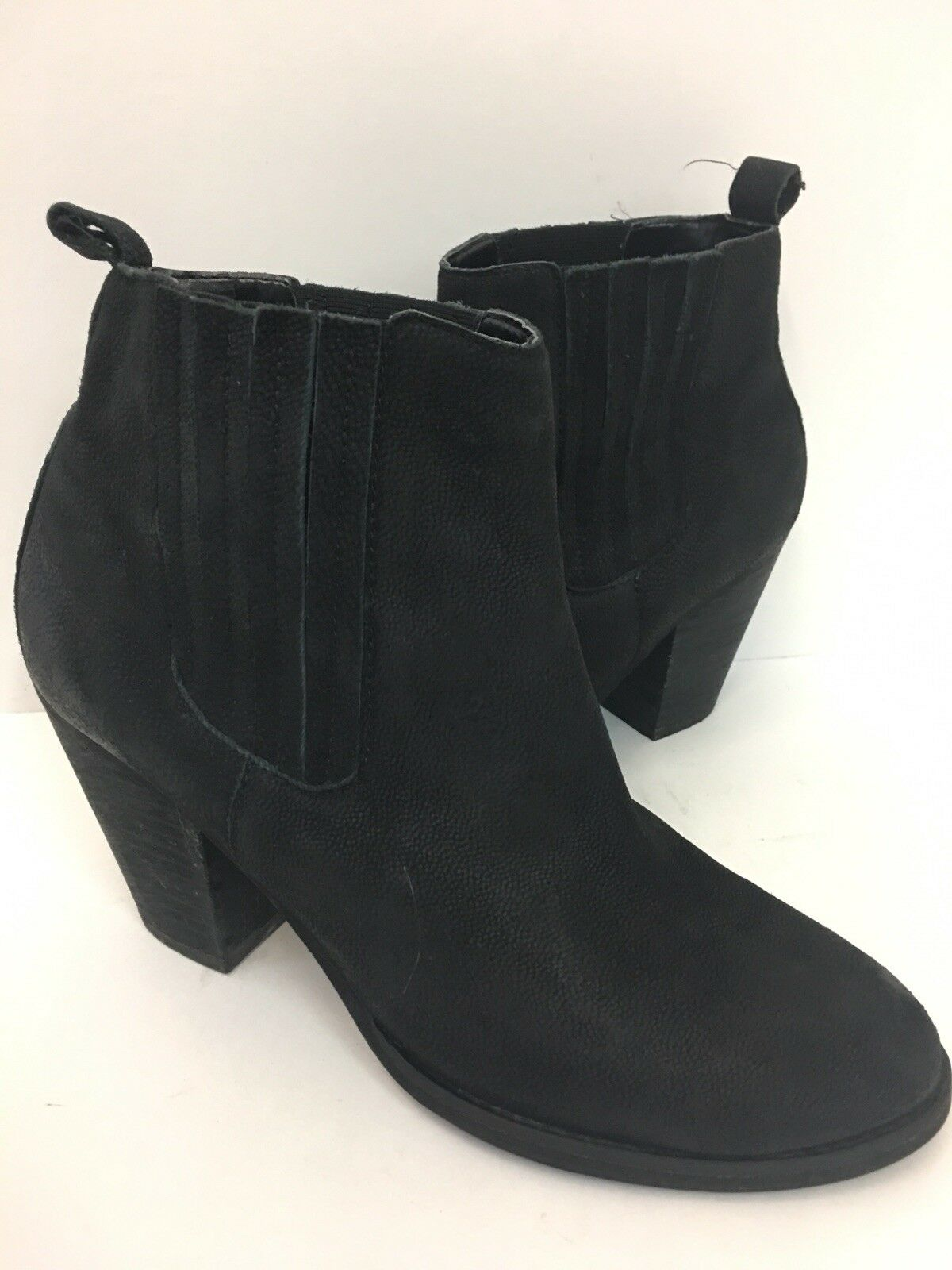 Abound Black Suede Leather Ankle Boots Booties Western Flare Heeled Size 8.5