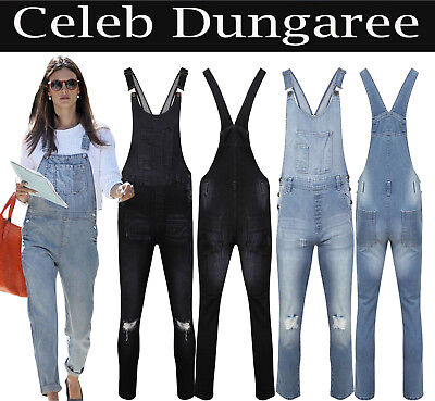 Gehorsam New Women's Ladie's Denim Dungarees Slim Fit Ripped Wash Jeans Jumpsuit 8 To 18
