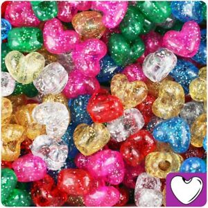 3-for-2-50-100-Mixed-Sparkle-Heart-Shape-13mm-Highest-Quality-Pony-Beads