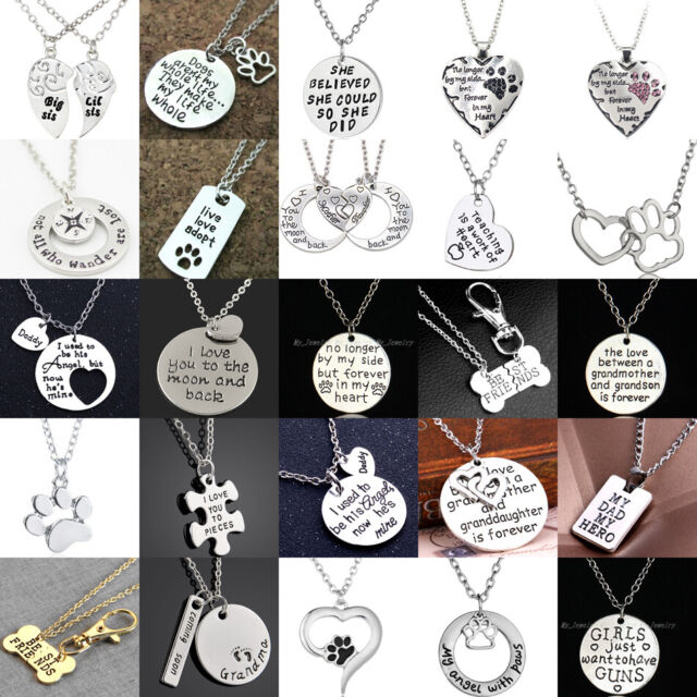 Personalised Pendant Necklace Mum Sister Heart Chain Necklace Family Best Friend