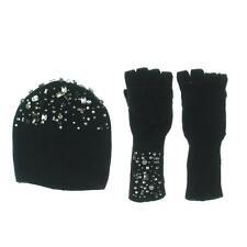INC 4997 Womens Black Jeweled 2PC Flip-Top Gloves Beanie Hat O/S BHFO