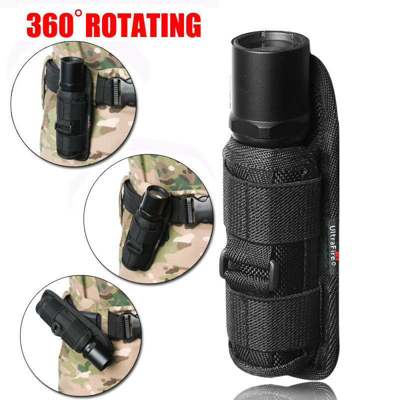 LED Flashlight Torch Lamp Light Holster Holder Carry Case Belt Pouch Ny JE:D W7