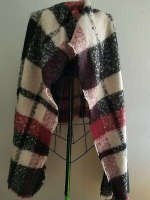 NWTs ZARA Accessories Knit Throw Pattern Plaid Burgundy Black Beige Shawl Scarf