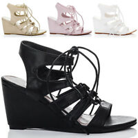 Womens Lace Up Wedge Heel Sandals Shoes Sz 3-8