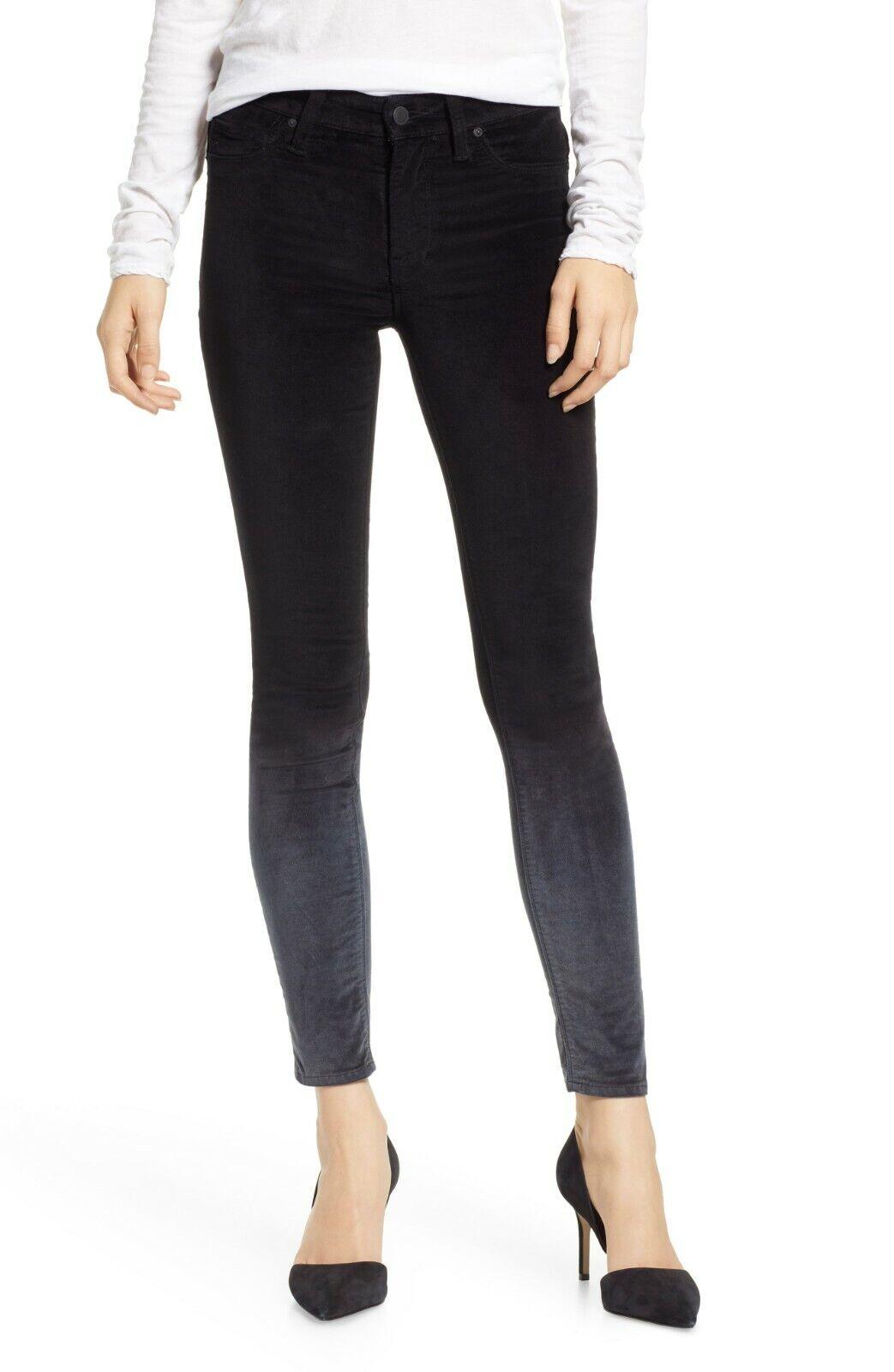 Nuevo con etiquetas HUDSON NICO  degradar Ombre Pizarra Negra súper Skinny Jeans de terciopelo en el tobillo  mejor calidad