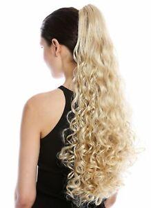 Postiche-Tresse-Queue-de-Cheval-Boucles-Bouclee-Tres-Long-60-cm-Blond-Dore-Blond
