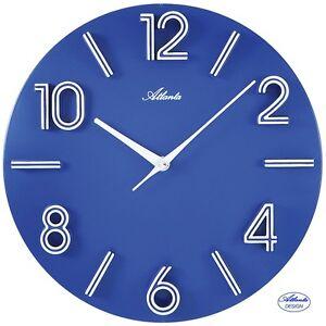 Atlanta-4397-5-cuarzo-de-Reloj-Pared-oficina-Analogo-Azul-Redondo-30cm-cocina
