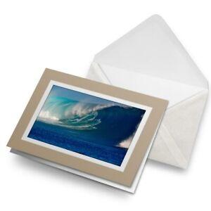 Greetings-Card-Biege-Surf-Barrel-Wave-Surfer-Surfing-Ocean-8872