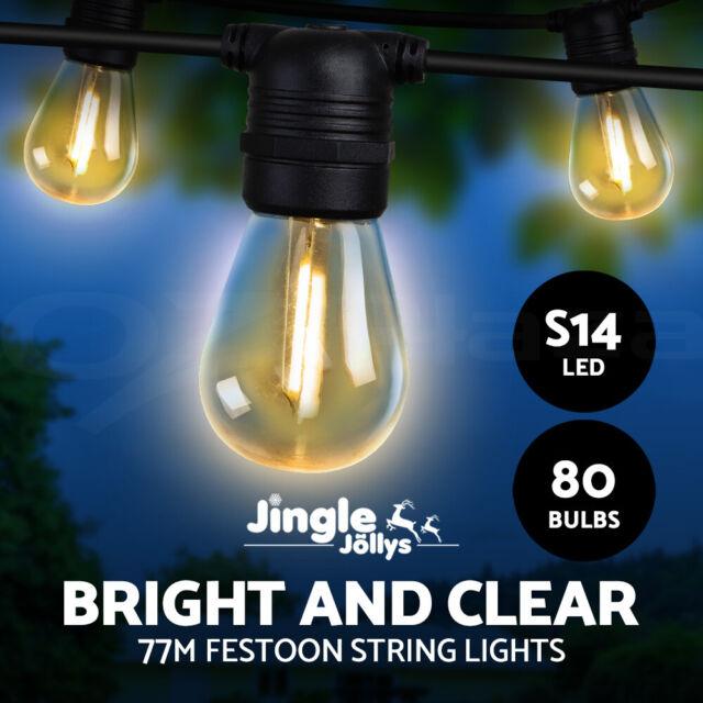 Jingle Jollys 77m LED Festoon String Lights Kits Wedding Party Christmas Outdoor