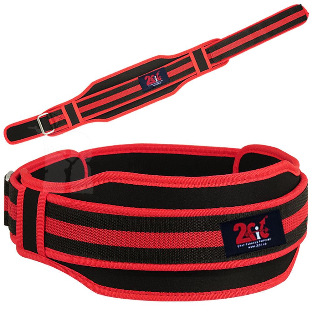 2Fit SOLLEVAMENTO pesi Cintura Doppia Supporto Tutore Palestra Training Power dolori lombari rosso