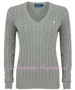 21f901bb4 Ralph Lauren Women s Ladies Cable Knit Cotton V Neck Jumper Grey S ...