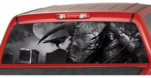 GRIM REAPER CEMETERY BW Rear Window Graphic Decal Tint Sticker - Rear window hunting decals for trucksdeers in a forrest bw window graphic tint decal sticker truck