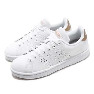 1835b07cfd4 Image is loading adidas-Advantage-White-Copper-Metallic-Women-Casual-Shoes-