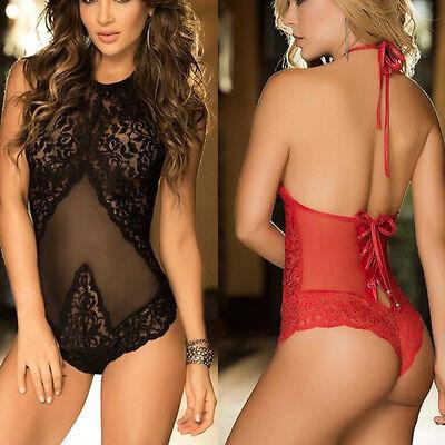 Lingerie Lace Babydoll Women's Underwear Nightwear Sleepwear G-string Hot Black