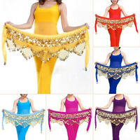 Belly Dance Costume Hip Scarf Tribal Triangle Hip Belt Top Xmas Velvet&Gold coin