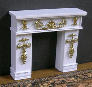 """HALF  SCALE ~ 1/2""""  scale~  FIREPLACE ~Dollhouse~ White / Gold ~ 1/24 ~ Artisan"""