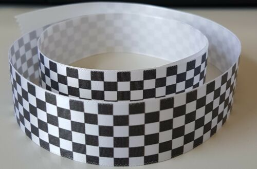 25mm Chequered Flag Ribbon Gift Wrap Cake Birthday//Present Wrap//Crafts